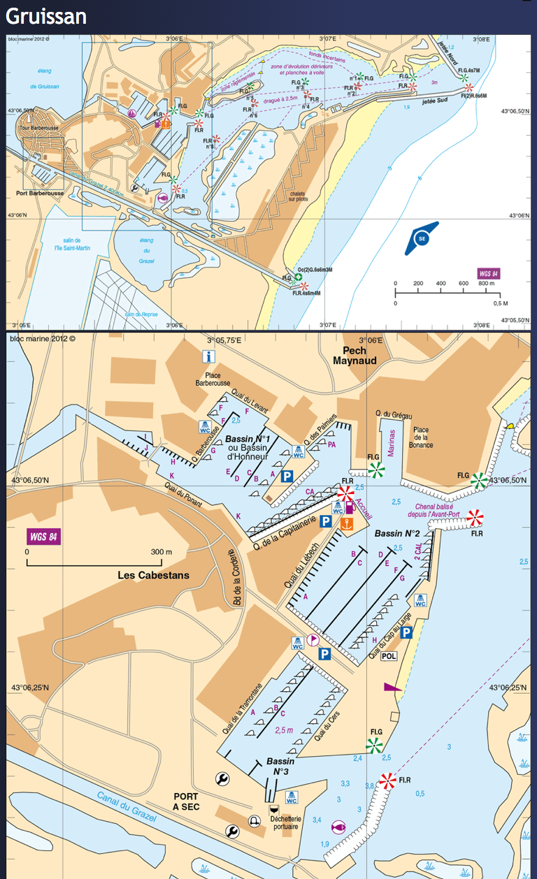 Gruissan Port plan and approach